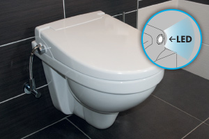 WC bidetovací sedátko s integrovanou sprškou a LED osvětlením