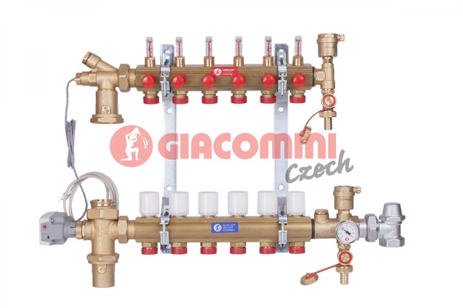 Směšovací rozdělovač s průtokoměry pro podlahové vytápění do nízkoteplotních systémů. Pro
