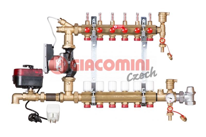 Směšovací rozdělovač s průtokoměry pro podlahové vytápění do nízkoteplotních systémů -  ko