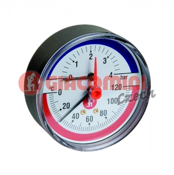 "Termomanometr 20-120 C, 0 až 0.4 MPA  1/2"" 0 až 4 Bar"