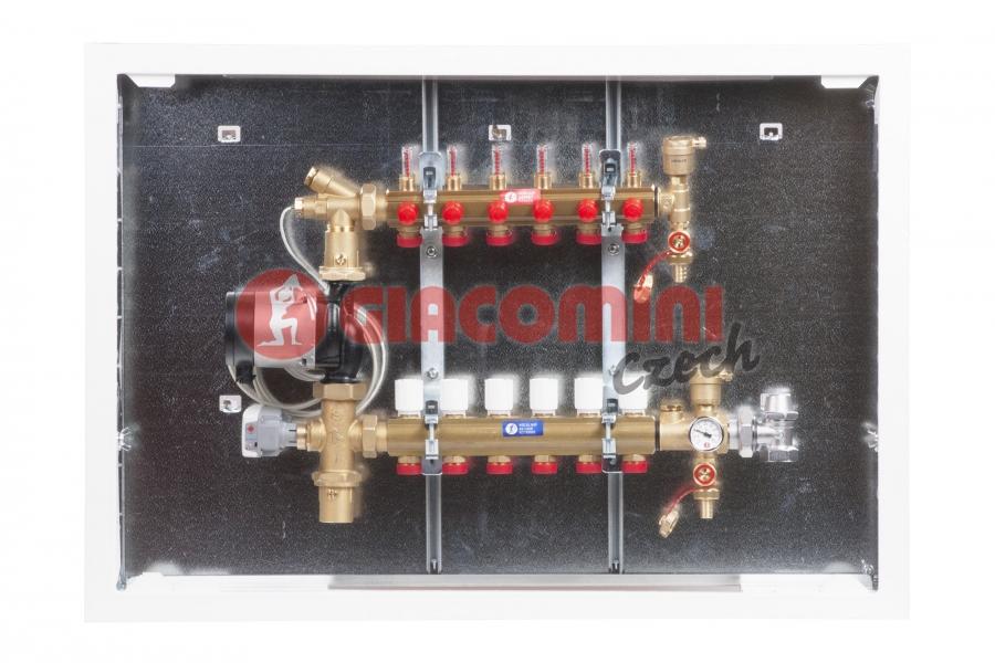 Směšovací rozdělovač s průtokoměry pro podlahové vytápění do nízkoteplotních systémů,  vče
